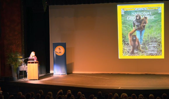 Primatologist Birutė Galdikas with a 1971 National Geographic cover where she was featured in a story about her work with orangutans in Borneo. Galdikas gave a community talk at the Kelowna Community Theatre Monday night as part of UBC's Distinguished Speaker Series.